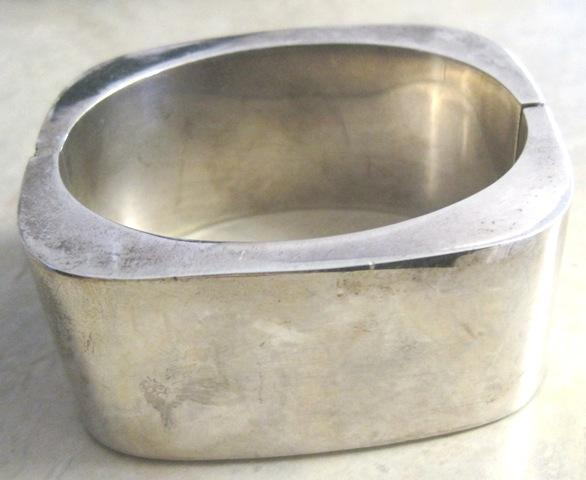 Mexican Sterling large cuff style bracelet with soft square profile weighs 3.485 oz.