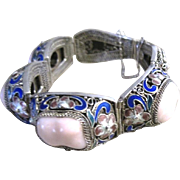 Sterling filagree Chinese wedding bracelet with enamel flowers and pink quartz