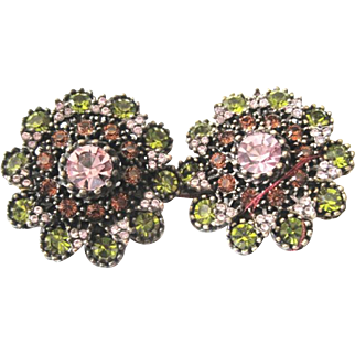 Hobe multi color clip earrings set with round greens, lavender and amber rhinestones