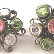 Vintage paste pastel earrings clip back set in gold washed sterling