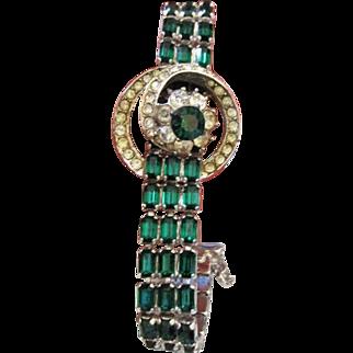 Vintage Bellin multi green and clear rhinestone bracelet