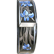 Vintage Michaela Frey iris themed enamel bangle bracelet