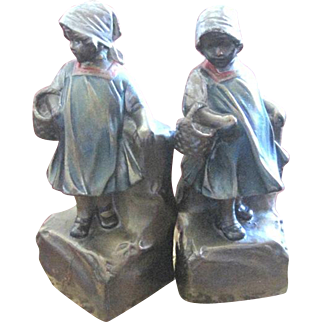 Larrant Company of New York Bronze clad little girl bookends with cold painted accents