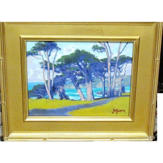 Laguna landscape oil on canvas board signed by listed artist J.D. Slay 111 eucalyptus grove by the ocean
