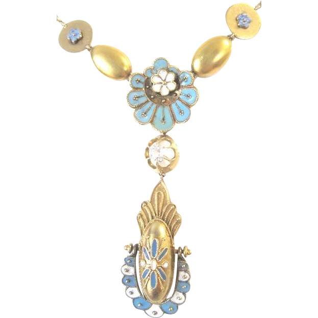 Victorian 14k yellow gold dangle necklace with .25 diamond turquoise blue and white enamel adornment