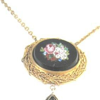 Victorian Micro Mosaic pendant of glass flowers on onyx necklace with large dangle drop.