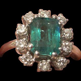 Outstanding 1950's ladies' 14k white gold 1.35 emerald AAA  0.50tw brilliant cut diamonds G-H VS1