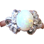 Vintage Ladies opal and diamond ring