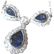 Vintage Ladies 18kt white gold sapphire and diamond necklace with diamond stations on the chain