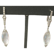 A pair of ladies 18k white gold multi faceted MOONSTONE and 0.30 carat tw DIAMOND dangle earrings