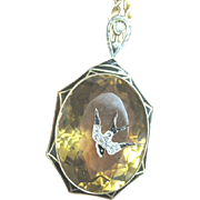 Sublime Victorian era Enamel Diamond and 95.87 AA quality Citrine with a diamond and enamel swallow and14k chain