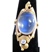 Art Nouveau 9.68 AAA cabochon rainbow Moonstone and Diamond 12kyg ring size 5 3/4