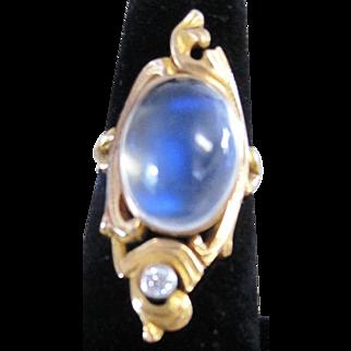 Art Nouveau 9.68 AAA cabochon rainbow Moonstone and Diamond 12kyg ring size 5 3/4