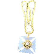 Ornate 18kt yellow gold, pink topaz and chalcedony cross pedant on 12k gold plated heavy chain dated on the back 1875