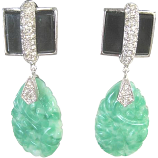 Jomaz carved Peking glass molded dangle clip earrings with rhinestone trim on onyx