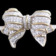Vintage gilt sterling silver vermeil retro pave rhinestone puffy bow pin