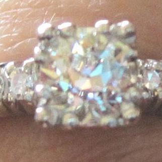 Vintage Platinum and diamond engagement ring center diamond 0.70ct G color VS2 clarity 5.1 grams