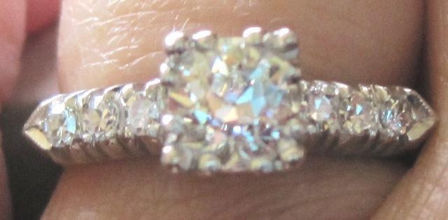 Vintage Platinum and diamond engagement ring center diamond 0.70ct G color VS2 clarity 5.1 grams