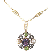 Vintage 14kyg suffrage necklace 1910-1925 rose cut diamonds amethyst peridot pearls set in sterling with brass clasp