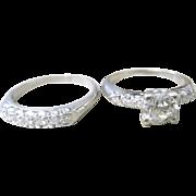 Vintage Platinum diamond wedding set consisting of 0.70 center diamond ring and diamond wedding band