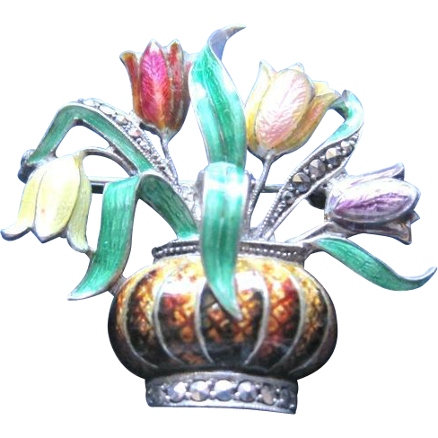 Vintage Austrian silver pin with enameled basket of flowers and marcasite trim