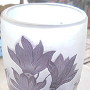 Romanian Art glass vase of purple clematis overlaid and etched by Henri Mantesy