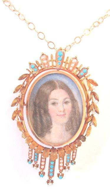 "Victorian 14k yellow gold two sided portrait locket painted by MK Dunning glass enclosed on both sides 18"" gold chain"