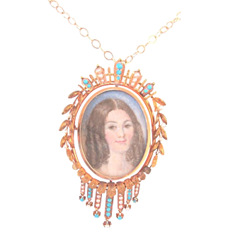 """Victorian 14k yellow gold two sided portrait locket painted by MK Dunning glass enclosed on both sides 18"""" gold chain"""