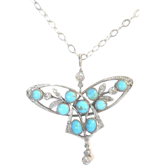 Art Nouveau Platinum over 10k yellow gold turquoise and diamond butterfly suspended pendant on 14k white gold chain