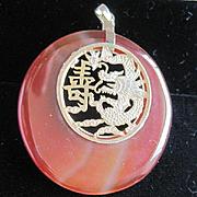 Chinese 14kyg dragon longevity symbol surrounded by carnelian pendant