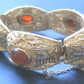 Ornate Vintage Chinese vermeil wedding bracelet with carnelian cabochons