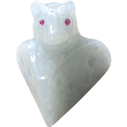 Burmese Jadeite Carving of a rat on a block of cheese with Burma Mogok ruby eyes with appraisal