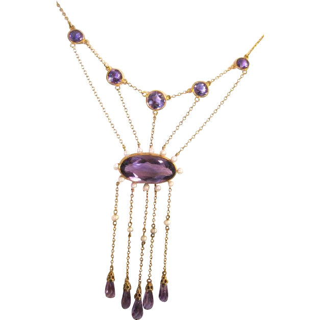 Multi strand Georgian(1840-1890) 14kyg Amethyst and natural Pearl necklace