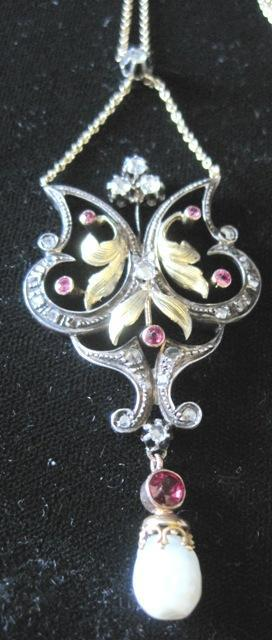 Ladies 14kyg and sterling Renaissance Revival necklace with rubies and diamonds