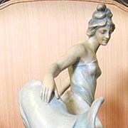 Bernard Bloch Austrian Amphora female figural vase Circa 1900 Art Nouveau from Turn Wein Teplitz