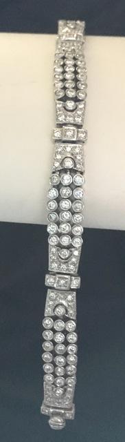 Art Deco 3.00ctw diamond bracelet set in platinum with G-H color recent appraisal available