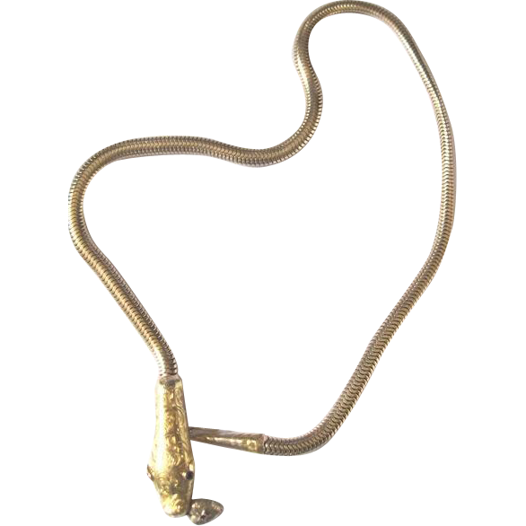 Victorian 14k yellow gold 38.3 grams 16 inch snake necklace with natural AA ruby eyes 0.20tw carat
