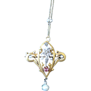 French Art Nouveau 18kyg pin/pendant hallmarked set with rose cut diamonds a ruby and natural pearls