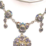 Exceptional silver and enameled ladies late 19th century jeweled necklace with 30 carats of amethyst weighing 50 grams