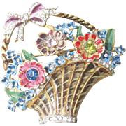 Signed Sterling vermeil CoroCraft multi colored basket of flowers with rhinestone centers
