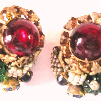 Multicolored Miriam Haskell glass floral clip earrings