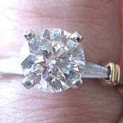 Platinum and 18k yellow gold diamond engagement ring weighing 5.6 grams with 1.50tw diamonds with appraisal