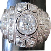 Ladies Art Deco period Platinum and 1.53tw G-H Diamond architectural ring with appraisal
