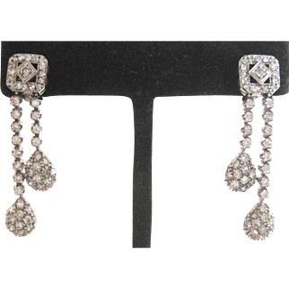 Vintage 14k white gold all diamond dangle earrings weighing 10.1 grams 118 diamonds