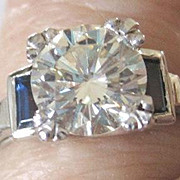 Outstanding vintage Platinum  1.48 ct VVS1 Diamond ring with sapphire and diamond baguettes appraised