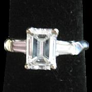 Remarkable vintage emerald cut 1.17 ct. platinum diamond ring F-G VVSI