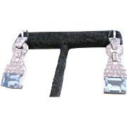 Platinum and diamond 1.24 tw with natural aquamarine beryl 5.17 tw dangle earrings