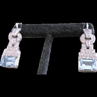 Platinum and diamond 1.24 tw with natural aquamarine beryl 5.17 tw dangle earrings