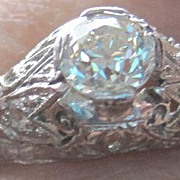 Platinum and diamond filagree engagement ring with appraisal and gift box