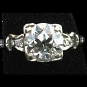 Beautiful European cut diamond engagement ring 1.41 carat VS2 K-l set in 18k white gold appraised